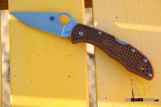 Spyderco Delica 4 Knife Flat Ground Brown FRN (2.88 in. Satin) C11FPBN | OsoGrandeKnives
