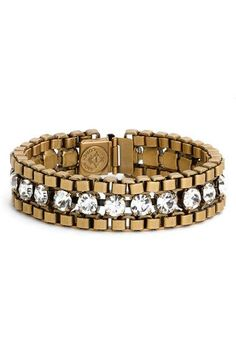 Free shipping and returns on Loren Hope 'Carly' Crystal & Chain Bracelet at http://Nordstrom.com. Handcrafted in Rhode Island, this vintage-inspired bracelet features sparkling hand-set crystals and antiqued box chains.