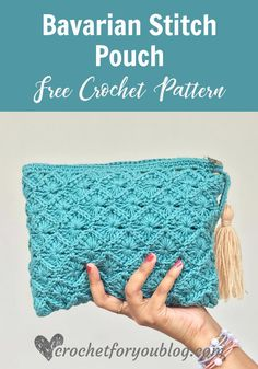 Crochet Pouch, Crochet Mittens, Crochet Stitches, Crochet Hooks, Free Crochet, Knit Crochet, Crochet Bag Free Pattern, Crochet Bags, Crochet Handbags