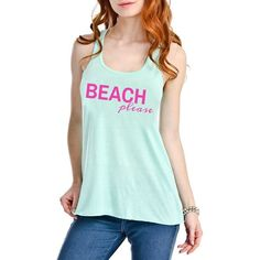 Beach Please Graphic Tank Top Katydid.com via Polyvore featuring tops, graphic tank tops, beach tops, graphic tanks, green tank top and green tank