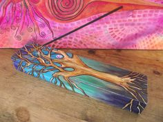 Tree of Life incense holder,tree incense holder,pagan incense holder,wooden incense holder,tree incense burner,hand painted incense burner - pinned by pin4etsy.com