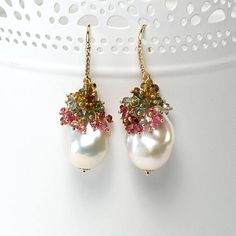 Baroque Pearl earrings with tourmaline clusters #baroquepearl #statement #earrings #jewelry #tourmaline