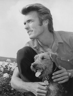 Clint Eastwood photographed with his beloved Airedale Terrier by Wallace Seawell, c. 1960