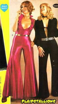70's disco fashion was a memorable style. On the dance floor you would often see shiny clinging Lycra stretch disco pants in hot strident shiny colours with stretch sequin bandeau tops. Gold lame, leopard skin and stretch halter jumpsuits and white clothes that glowed in Ultra Violet lights capture the 70s Disco fashion perfectly.  -AE