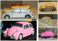 Pink Beetle Car Cake