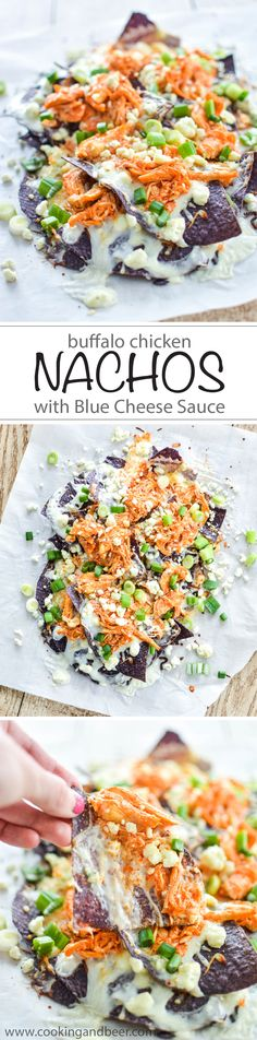 Buffalo Chicken Nachos with Blue Cheese Sauce #gameday #wings