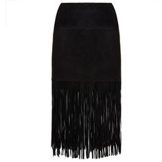 Muubaa Milo Black Fringe Suede Skirt ($150) ❤ liked on Polyvore featuring skirts, black, fitted midi skirt, black suede skirt, mid calf black skirt, muubaa and calf length skirts
