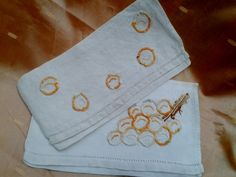 2 Antique French White Linen Napkin Cases Handmade Orange Embroideries  Hand Embroidered Grapes Design