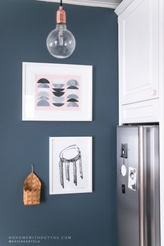 Getting used to our new dark blue kitchen wall. Blue Wall Colors, Bedroom Wall Colors, Dark Blue Kitchens, Blue Walls In Kitchen, Turquoise Room, Dark Blue Walls, Room Wall Painting, Blog Deco, Kitchen Colors