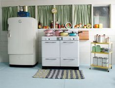 Retro kitchen gear love. Makes my heart beat fast but so impractical.  I've tried one of those '50's fridges!  Loved it until I got the power bill and then had to defrost the freezer with a pot of hot water and a hair drier and truck load of towels. THEN when I forgot to do it for a while, the ice accumulation literally BLEW the freezer door OFF! Blah.