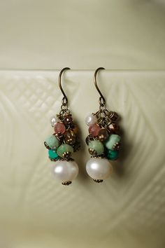 Unique handmade gemstone cluster dangle earrings feature pearl and czech glass