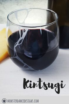 Etched Stemless Wine Glass from Monster Dance Designs. Kintsugi is a great mindful gift for anniversaries. Cocktail Gifts, Cocktail Making, Cocktails On The Rocks, Engraved Glassware, Cocktail Glassware, Wedding Toasting Glasses, Bar Cart Styling, Unique Birthday Gifts, Wine Parties