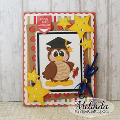 Cute card using Card Basics SVG cut file and Owl Digi From papercraftingworld.com. Details on post:: http://www.mypapercrafting.com/2015/06/owl-graduate-card-cut-file-sale.html