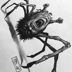 """one of my latest tattoo designs and feeble contribution to #inktober. inspired by... yes you got it, the great John Carpenters """"THE THING"""". #ink #tattooflash #monster #creepy #horror #drawing"""
