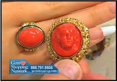 2 beautiful estate old coral pieces a ring and a pin.