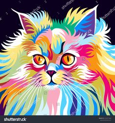 Find Cute Colorful Pop Art Style Cat stock images in HD and millions of other royalty-free stock photos, illustrations and vectors in the Shutterstock collection. Colorful Animal Paintings, Colorful Animals, Arte Pop, Dog Pop Art, Chalk Pastel Art, Paint Brush Art, Vector Pop, Lion Painting, Tiger Art