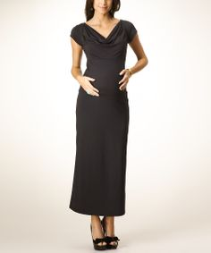 Black Catherine Maternity Maxi Dress