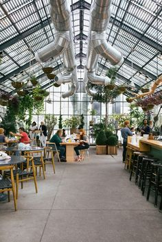 "fineinteriors: ""The Commissary Restaurant at the Line Hotel, Koreatown, Los Angeles. Greenhouse Restaurant, Greenhouse Cafe, Café Restaurant, Restaurant Design, Design Café, Cafe Design, Roof Top Cafe, Los Angeles Restaurants, Windows"