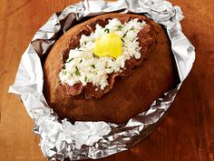Baked potato cake (carbs are carbs, right?) via Food Network