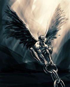 Fallen Angel of Mitochang on deviantART - Nail Design Ideas! Body Art Tattoos, Tattoo Drawings, Sleeve Tattoos, Cool Tattoos, Wing Tattoos, Skull Tattoos, Tatouage Hercules, Angel Demon Tattoo, Fallen Angel Tattoo Sleeve