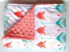 Tribal Arrow Blanket-Coral Teal-Watercolor Girl Minky-Modern Aztec Southwest Nursery-Designer Fabric-Baby Shower Gift-Baby Bedding