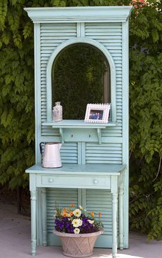 SHUTTERS -- a pile of random objects to a hall tree, painted furniture, repurposing upcycling, Hall Tree Made From Thrift Store Finds Furniture Projects, Furniture Makeover, Diy Furniture, Diy Projects, Furniture Design, Antique Furniture, Bedroom Furniture, Furniture Market, Industrial Furniture