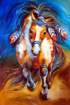 Art 'FIRE the Indian War Horse' - by Marcia Baldwin from Animals Native American Horses, Native American Paintings, Painted Horses, Painted Pony, Painted Rocks, Indian Horses, Horse Artwork, Southwest Art, Oil Painting Abstract