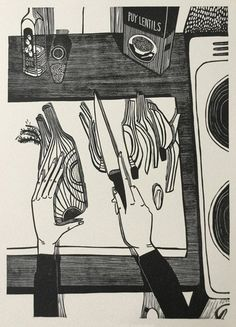 Black and white cooking illustration. Original Hand-Printed Linocut Limited Edition of 100 Signed and numbered by the artist Print Size x Illustrations, Illustration Art, Linocut Prints, Art Prints, Block Prints, Print Artist, Painting & Drawing, Encaustic Painting, Art Inspo