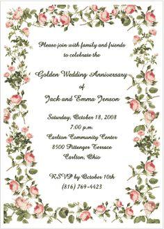 Free 50th wedding anniversary invitation borders