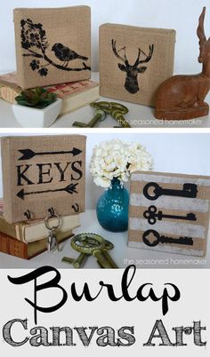 DIY Burlap Canvas Art. An easy project to add some life to your decor.