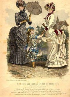 Walking or promenade dress, 1879 (probably mis-labeled) France, Moniteur des… Victorian Era Dresses, Victorian Fancy Dress, Victorian Steampunk, Victorian Costume, 1870s Fashion, Edwardian Fashion, Vintage Fashion, Gothic Fashion, Fashion Fashion