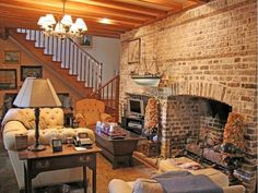 brick carriage houses   Old carriage house sitting room.