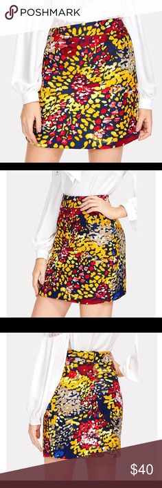 🆕 Abstract textured mini skirt Gorgeous abstract print textured mini skirt ~ mid waist ~ back zipper ~ polyester ~ yellow, gold, red, navy, white print ~ S-size 6; M-size 8; L-size 10; XL-size 12 ~ new boutique item in package Skirts Mini