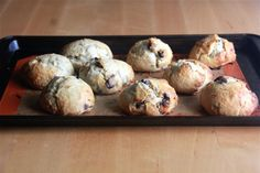 Banana and Chocolate Chip Scones ~ via this blog, Crumbs and Cookies.