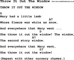 Summer Camp Song, Throw It Out The Window, with lyrics and chords for Ukulele, Guitar, Banjo etc.
