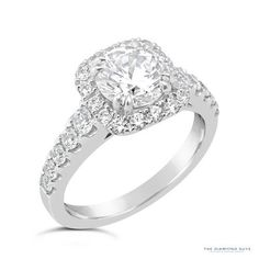 Diamond Halo Engagement Ring Setting - The Diamond Guys Collection Center Diamond Cut: Round Brilliant Cut  Side Diamonds: 28 (weight = 0.77ct)