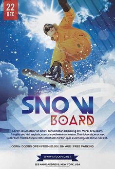 Free Snowboard Sport Flyer Template - http://freepsdflyer.com/free-snowboard-sport-flyer-template/ Enjoy downloading the Free Snowboard Sport Flyer Template created by Stockpsd!   #Apres, #Club, #Cold, #Dance, #Ice, #Mountains, #Party, #Ski, #Snow, #Snowboard, #Sport, #Winter