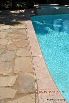 Add Flagstone for a beautiful poolscape that is an easy DIY.