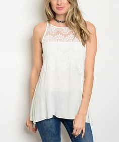 Look what I found on #zulily! White Lace-Yoke Top #zulilyfinds