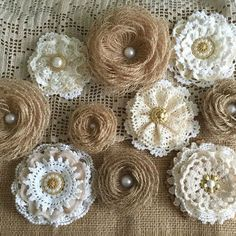 10 rustic lace and burlap handmade flowers - wedding cake topper, decoration, craft projects, jar decoration