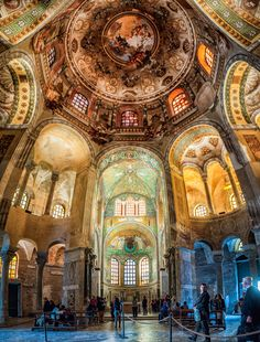 San Vitale Basilica in Ravenna, Italy. Note the round basilica structure, thick walls, and small windows. Art And Architecture, Architecture Details, Ravenna Italy, Church Interior, Byzantine Art, Cathedral Church, Early Christian, Medieval Art, Place Of Worship