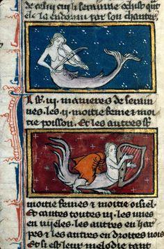 Sirene oiseau jouant de la viole et de la harpe. Dijon BM ms 0526 Lumin. jpg by tony harrison, via Flickr