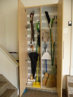 Small Cleaning Supply Closet Stash away unsightly cleaning tools in a tiny broom closet. Designed by Northern Virginia-based Tailored Living, this closet is located just off the staircase and near high-traffic family room and kitchen area. Broom Closet Organizer, Small Closet Organization, Home Organization Hacks, Closet Storage, Bedroom Storage, Organizing, Wardrobe Storage, Ikea Storage, Garage Storage