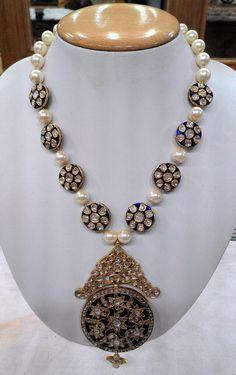 A vilandi designer set with south sea pearls | Kundan Meena Jewelry | Vilandi Jewelry