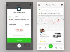 Hi Dribblers! Here, Ride Confirmation and pickup screens from Find Cab App. App Ui Design, Mobile App Design, Mobile Ui, Web Design, Mobile Application Design, Ios Ui, Pick Up, Confirmation, Map