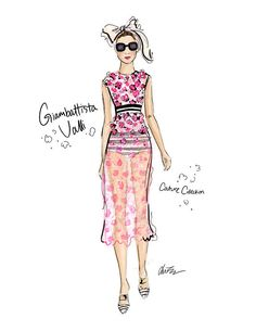 Floral Stripes - Giambattista Valli Runway Fashion Illustration Art Print| Be Inspirational❥|Mz. Manerz: Being well dressed is a beautiful form of confidence, happiness & politeness