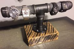 Custom Made Watch holder - Reclaimed Barn Wood & Gas Pipe - Scorched finish on Etsy Pipe Furniture, Industrial Furniture, Industrial Pipe, Gas Pipe, Iron Pipe, Watch Holder, Reclaimed Barn Wood, Home Projects, Woodworking Projects