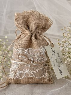 Custom listing 20 Lace Rustic Favor Bag Rustic by forlovepolkadots