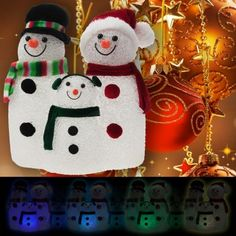 Illuminated Snow Family Snowman Color Changing Holiday Light!