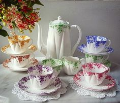 Beautiful vintage teaset by Shelley Dainty Rainbow made in England.